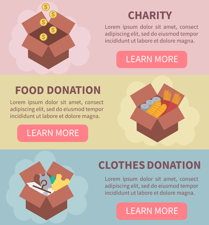 Donation vector concept illustrations. Charity, food donation, clothes donation. Donation boxes. Concept for web banners, websites, infographics. Illustration