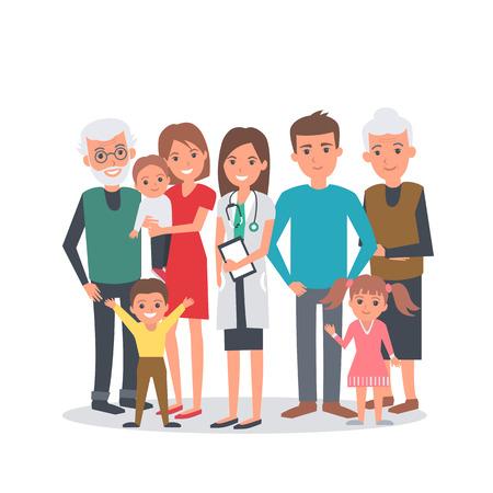 pediatra: ilustración vectorial médico de familia. La familia grande con el médico. Retrato de la familia aislado en el fondo blanco. Vectores