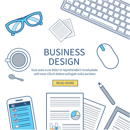 business equipment: Thin line flat design of business workspace with smartphone, business report, glasses and other office equipment. Business concept. Can used for banners, backgrounds.