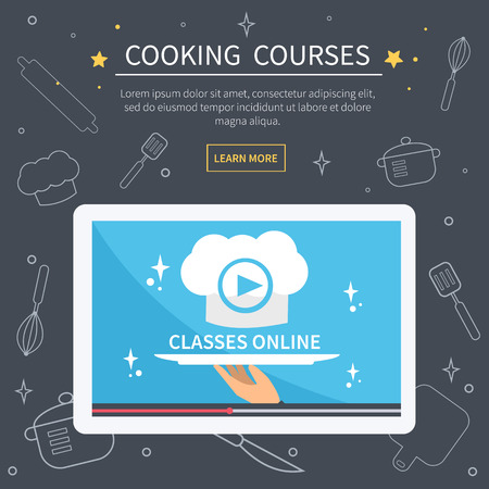 food dish: Vector cooking courses image. Flat design for web banner. Online culinary classes concept