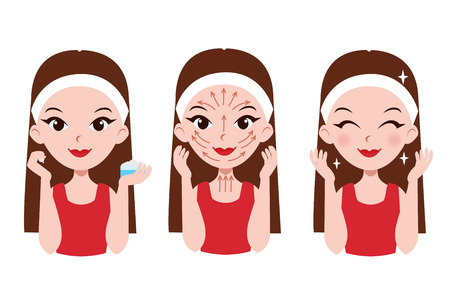 Cuidados de la muchacha sobre su cara. Los pasos cómo aplicar la crema para la cara y el cuello. líneas de masaje facial. Foto de archivo - 56662393
