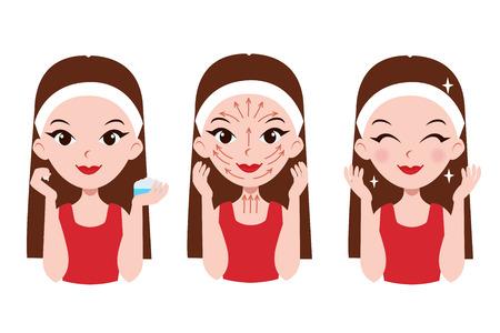 Meisje geeft om haar gezicht. Stappen hoe je crème van toepassing op het gezicht en de hals. Gezichtsmassage lijnen.