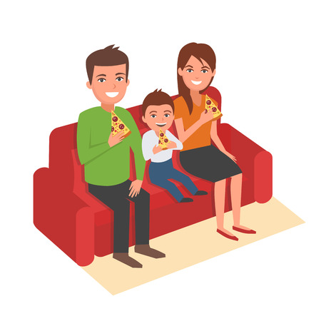 lunch room: Family is sitting on sofa and eating pizza. Vector cartoon illustration. Family portrait isolated on white background.