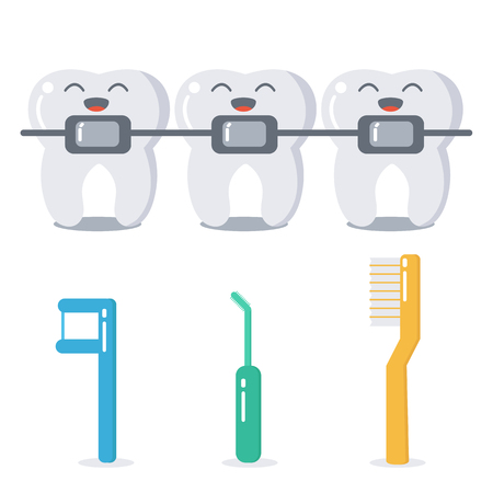 cute braces: Vector cartoon teeth with braces and hygiene products for braces care. Cute flat illustration. Dental care concept.