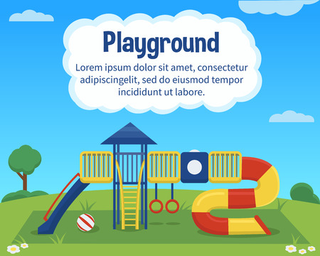 Vector children playground on colorful background.  Outdoor children activity background with text place.