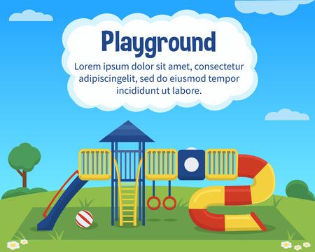 jardin de infantes: Área de juego de los niños del vector en el fondo colorido. Fondo al aire libre actividad de los niños con el lugar de texto.