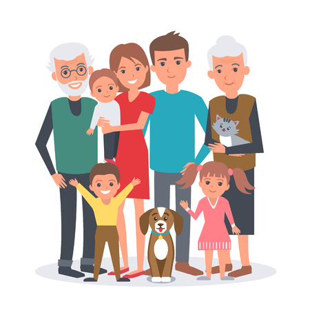 Big family vector illustration. Big family with children, parents, grandparents and pets. Family portrait isolated on white background. Vettoriali