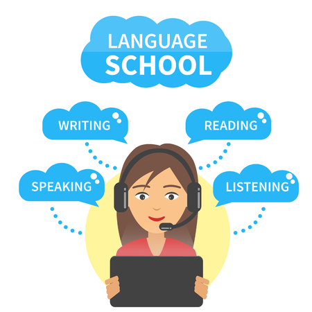 in english: Vector Language school concept illustration. Girl in headphones with microphone look at tablet and study language speaking, writing, reading and listening.