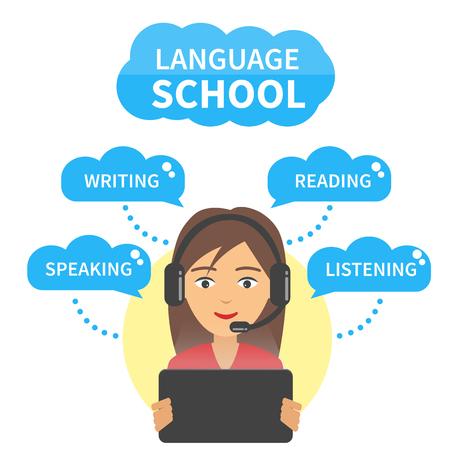 Vector Taalschool concept illustratie. Meisje in hoofdtelefoon met microfoon blik op de tablet en studie taal spreken, schrijven, lezen en luisteren.