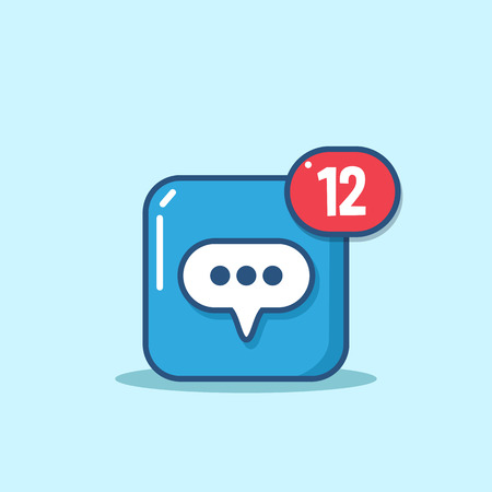 incoming: Vector Message icon in modern line style. Message icon with incoming messages or notifications. Design element for mobile and web applications.
