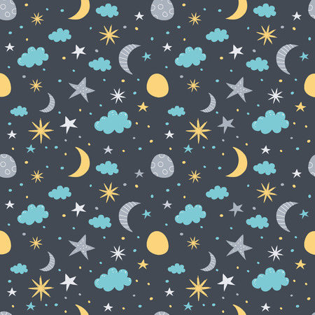 starfall: Vector seamless pattern with moon, cloud and stars. Children vector illustration on dark background.