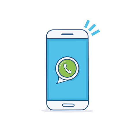 Vector Thin line Smart Phone Icon. Smartphone with green call icon on screen.