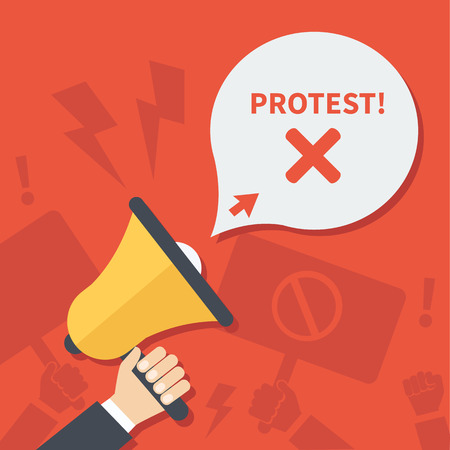 protest signs: Vector Protest banner. Hands hold speaker and placards with protest call.