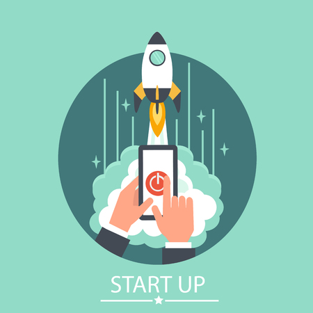 business project: Business start up business concept illustration. Vector concept for business project start up. Launching new project. Illustration