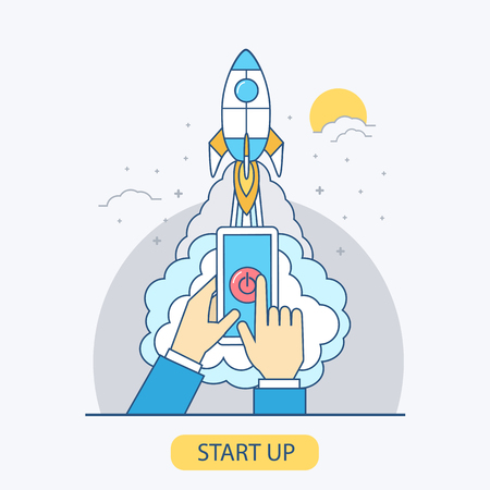 launching: Business start up business concept illustration in line style. Vector concept for business project start up. Launching new project.