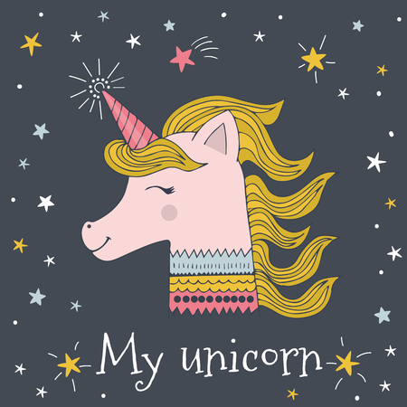 My unicorn vector card design. Cute unicorn in doodle style with text and stars.