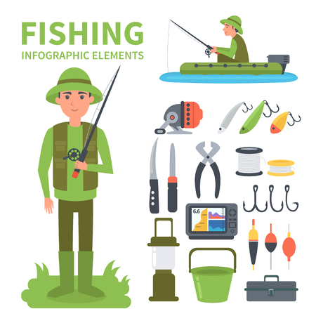 bait box: Fishing infographic elements. Set of vector icons - full-length fisherman, fisherman in a boat, fishing equipment. Vector illustrations