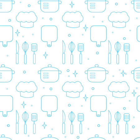 Vector seamless pattern of cooking theme in line style. Illustration