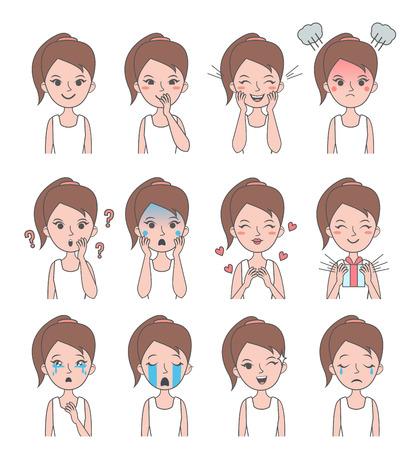 niña pensando: Chica emoción de la cara. La muchacha del vector avatares con diferentes emociones. Ilustración del vector.