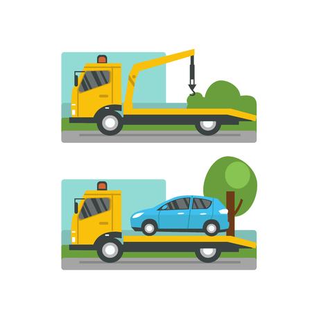 evacuacion: concepto de evacuación coche. asistencia en carretera. Vector ilustración plana.