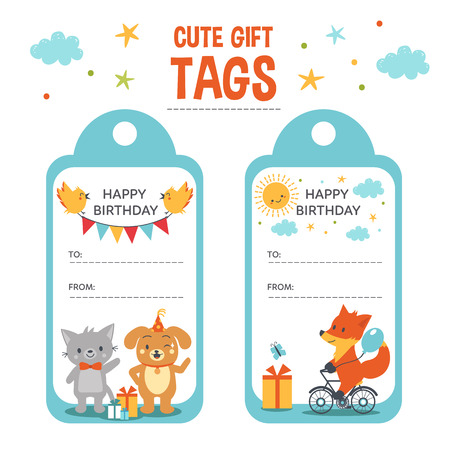 Regalo lindo etiquetas del vector. Etiquetas del regalo de cumpleaños con el lugar de texto y los animales lindos. Foto de archivo - 58018139