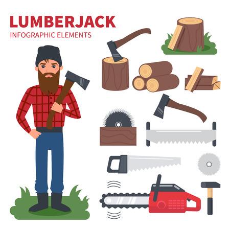 Lumberjack character with lumberjack tools. Vector Infographic elements.