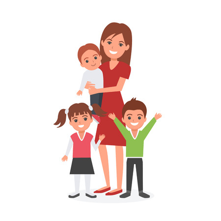 nursing sister: Mother with kids vector illustration. Happy family. Mothers Day. Illustration