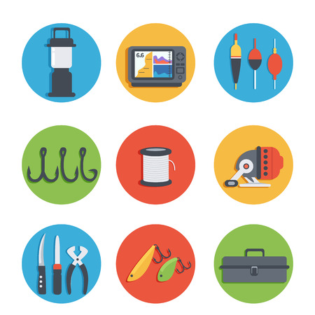 tackle box: Set of vector icons of fishing equipment. Vector illustration.
