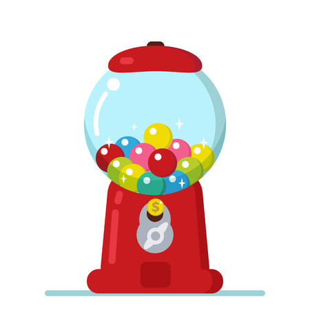Vector Gumball machine illustration. Bubble gum machine in cartoon style.