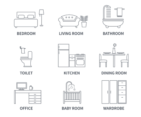 baby wardrobe: Home interior design icons for bedroom, living room, bathroom, kitchen, dining room, home office, wardrobe, baby room in line style. Vector icons set.