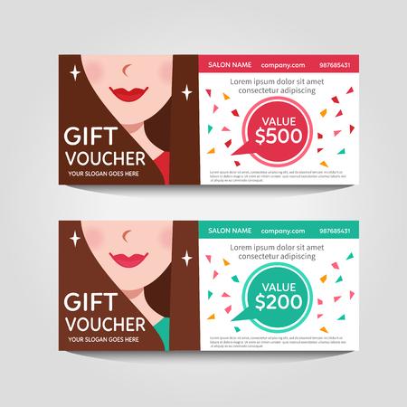 cosmetician: A gift voucher for a beauty salon. Vector Flat voucher. Illustration