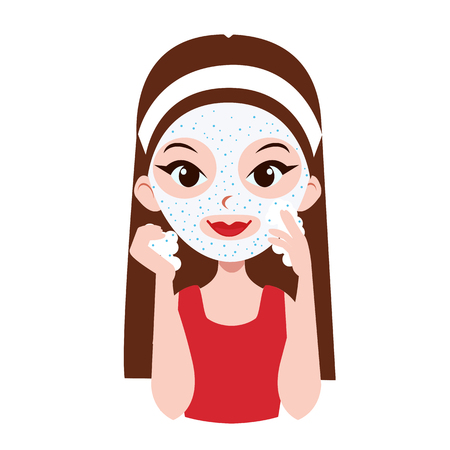 woman hygiene protection: Girl scrubbing her face. Face care. Vector illustration.