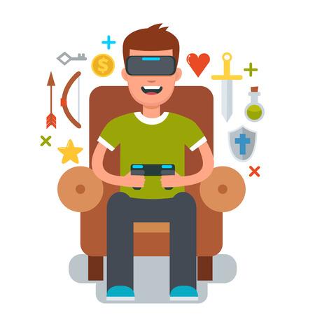 cadeira: Homem sentado na cadeira e jogos com óculos de realidade virtual. Vector ilustração dos desenhos animados. vidros RV.