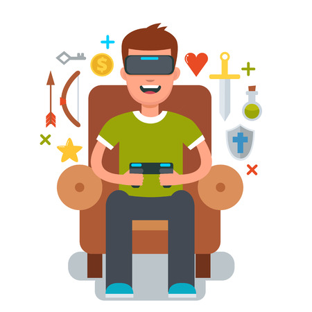 Man zitten in de stoel en gaming met Virtual reality bril. Vector cartoon illustratie. Vr bril. Stock Illustratie