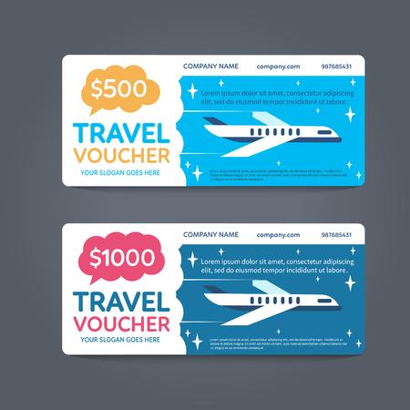 business travel: A gift Travel voucher. Vector Flat voucher. Illustration