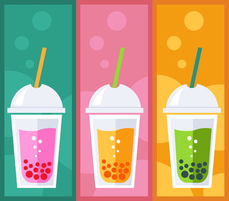 pink bubbles: Bubble Tea or Tea Cocktail. Vector illustration of bubble tea on colorful background.