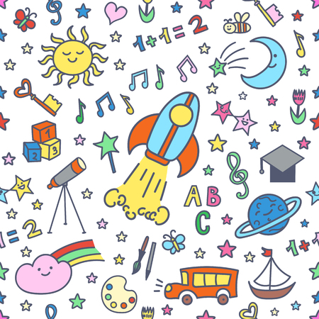 Patrón sin fisuras con los elementos dibujados a mano del doodle en el estilo de los niños: elementos de la escuela o de la guardería, de la naturaleza, objetos. Modelo de la escuela sobre fondo blanco. Foto de archivo - 58018171