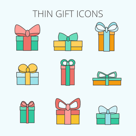 giftware: Gift box line icons. Vector Gift boxes icons set. Outline vector holiday icons. Line Gift boxes with different sizes on white background.