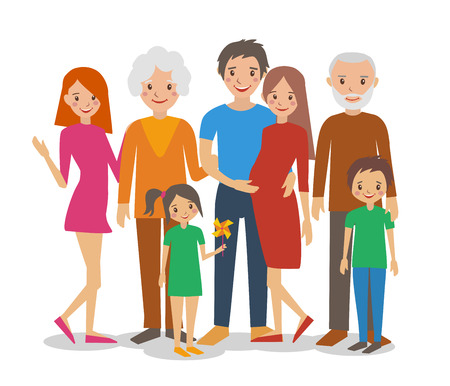 happy children: Vector flat illustration of happy big family portrait. Parents with Children.