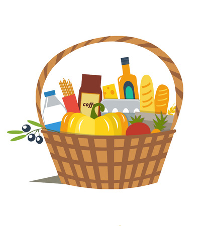 wicker: Vector flat Wicker Basket with product on white background. Supermarket products.