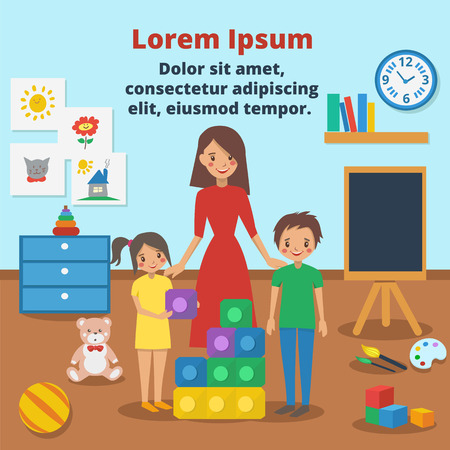 Young Kindergarten teacher and  cute children collect puzzle in the Kindergarten room. Vector cartoon illustration with text place. Children playing in  Kindergarten. Kindergarten playroom with various toys and puzzles.
