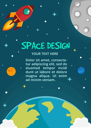 Vector Space cartoon background  with text place. Rocket spaceship, stars and planets. Space background. Can be used for background, banner, web page, poster, card Illustration