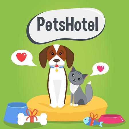 albergo: Illustrazione vettoriale. Animali hotel di design poster. Gatto e cane.