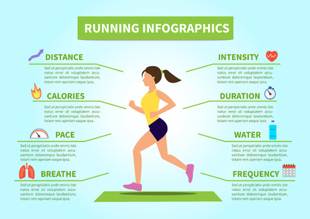 Vector flat running and jogging infographics. Concept infographic how to run correctly.