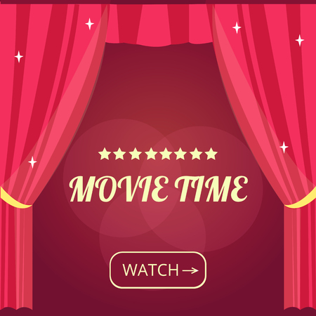 show time: Vector movie time background with cinema Red Curtains and projector lights. Movie background with text place. Can used for banner, poster, web page, background Illustration