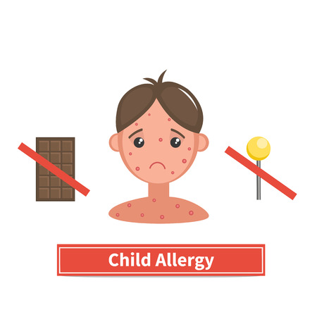 itching: Child face covered by acne, allergy symptoms. Child allergy and child acne. Concept vector illustration isolated on white background. Flat cartoon style.