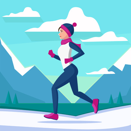 jogging: Vector illustration of woman running in winter morning. Flat vector landscape scenicurning. Woman running winter marathon