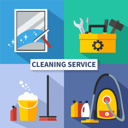 cleaning equipment: Cleaning service flat vector concepts set. Cleaning  banner. Cleaning service and minor repairs.