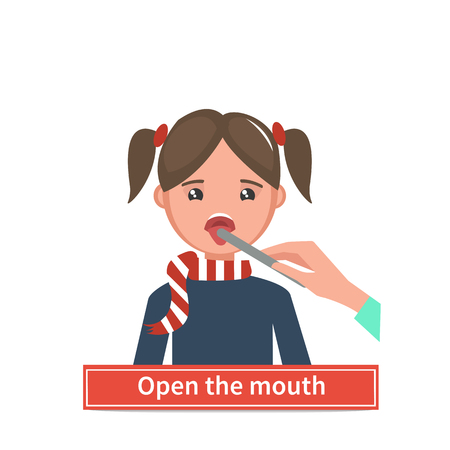 doctor exam: Little girl being checked in throat. Vector medical illustration. Open the mouth. Throat check.