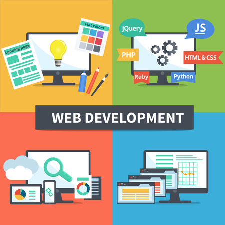 css: Vector flat set of concept web development elements. Stages of web development. Icons for web design, application development,web programming, seo, testing Illustration